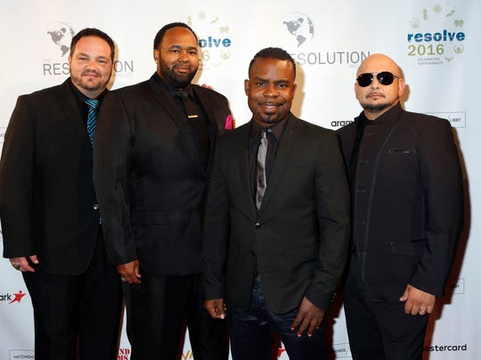Tony Borowiak (from left), Jamie Jones, Delious Kennedy, and Alfred Nevarez of All-4-One will perform Saturday at American Bank Center during the Back to the '90s concert.