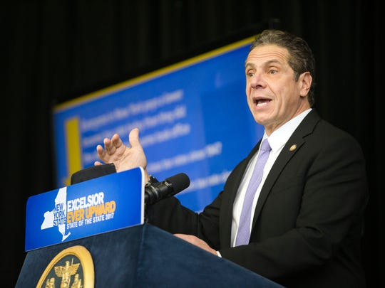 New York Governor Andrew Cuomo speaks at the Innovative Technology Complex at Binghamton University in January. Governor Cuomo presented his 2017 State of the State and discussed the his 2017 budget proposal.