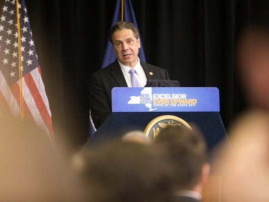 New York Governor Andrew Cuomo speaks at the Innovative Technology Complex at Binghamton University on Tuesday. Governor Cuomo presented his 2017 State of the State and discussed the his 2017 budget proposal.