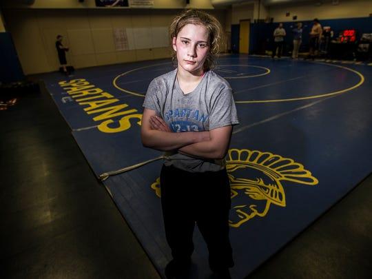 Maine-Endwell High School wrestler Cheyenne Sisenstein on Wednesday, February 8, 2017.
