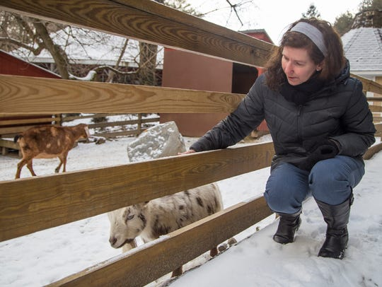 Jacqueline Peeler pets a goat at the Binghamton Zoo