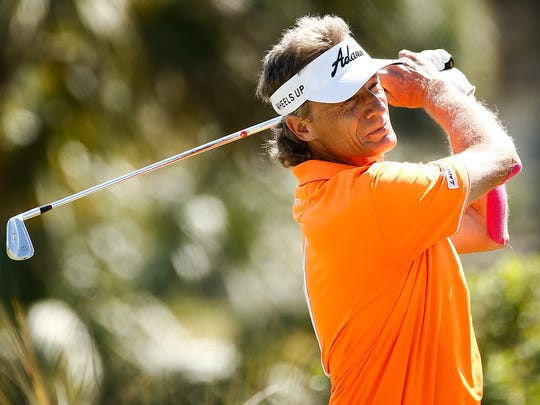 Bernhard Langer tees off at the 2nd hole during the final round of the Chubb Classic at Twin Eagles Golf Club on Sunday, February 14, 2016. (Scott McIntyre/Staff)