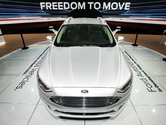 The Ford Fusion Autonomous car is displayed at the