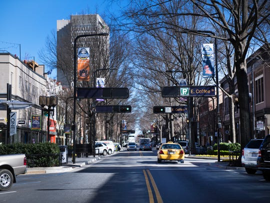 Main Street in downtown Greenville on Thursday, February