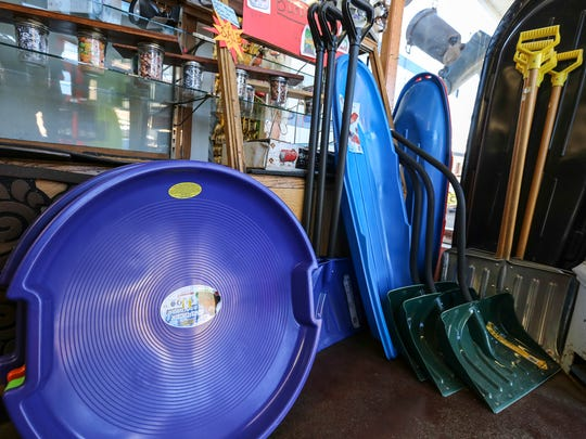 Sleds and snow shovels are still unsold at Keith's Hardware in the Highlands.  Ice melt, sleds and shovels are unsold because of the mild winter.February 15, 2017