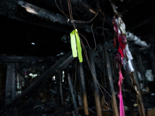 A brightly-colored tie marks the wire that caused the