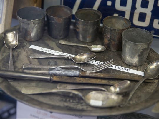 Utensils recovered from the airship. The Hindenburg disaster took place 80 years ago this May. The Navy Lakehurst Historical Society maintains the Hindenburg Airship Memorabilia Room within Hangar 1 on Joint Base McGuire-Dix-Lakehurst.   Lakehurst, NJ Friday, February 17, 2017. @dhoodhood