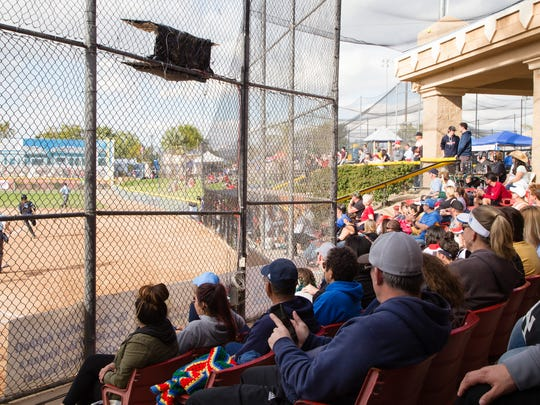 UCLA plays Liberty on the first weekend of the Mary Nutter college softball classic in Cathedral City, Calif., Sunday, Feb. 19, 2017.
