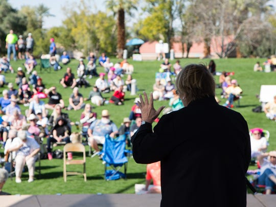 "Rev. Joni Miller speaks at the ""Not My President's Day"" rally in Palm Desert, Calif., Monday, February 20, 2017."