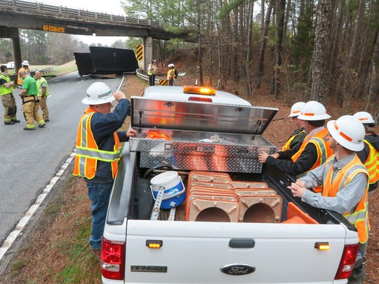 Workers from the South Carolina Department of Transportation in Anderson County prepare to place detour markers Wednesday near the damaged bridge over U.S. 29 North.