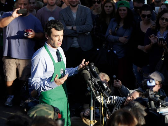 "Nathan Fielder, host of the Comedy Central show ""Nathan For You,"" steps forward as being behind the Dumb Starbucks store in the Los Feliz neighborhood February 10, 2014 in Los Angeles California."