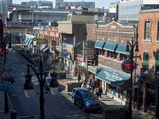 Greektown is seen from a walkway crossing Monroe in