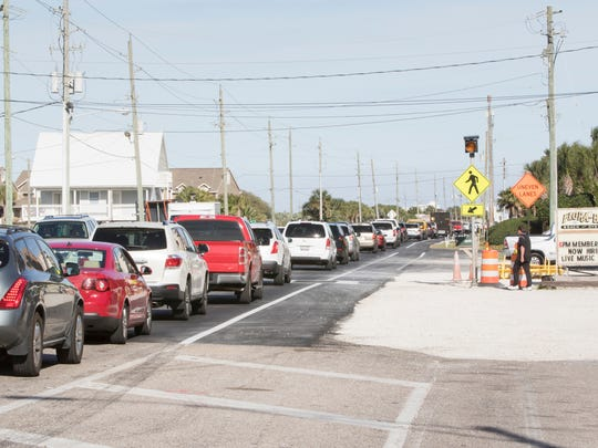 Traffic is backed up all the way to the Flora-Bama due to road work on Perdido Key Drive in Pensacola on March 2, 2017.