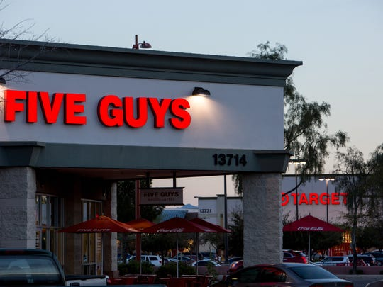 Five Guys and Target sit among many chain restaurants