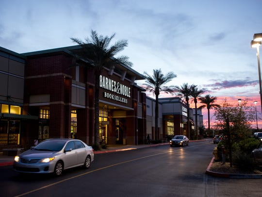 Barnes & Noble sits among many chain restaurants and