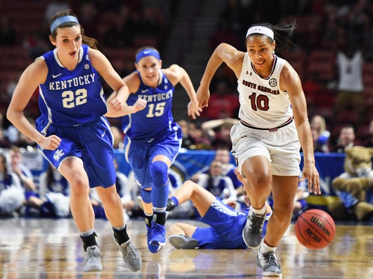 South Carolina guard Allisha Gray (10) drives the ball down the court past Kentucky in game 11 of the SEC women's basketball tournament at Bon Secours Wellness Arena on Saturday, March 4, 2017.