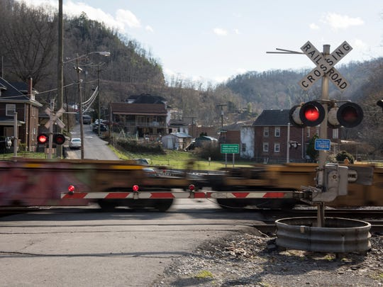 A train passes through the town of Welch, W.Va. Railroad