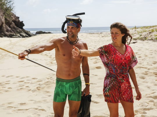 "Troyzan Robertson and Hali Ford stand together in the season premiere of ""Survivor: Game Changers."""