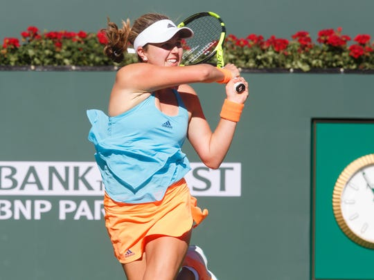 Kayla Day is defeated by Garbiñe Muguruza at the BNP Paribas Open, Sunday, March 12, 2017.