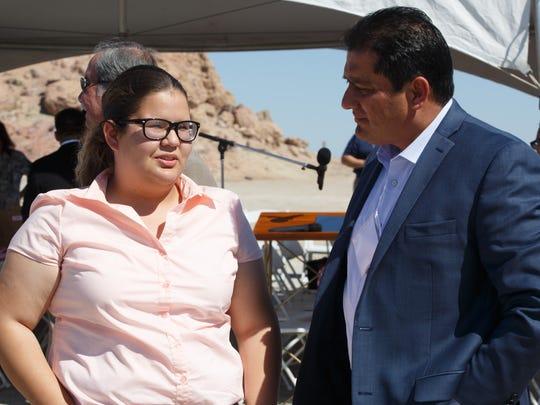 State Sen. Ben Hueso talks with Karol Ruelas, a senior from Brawley High School, at the Salton Sea Leadership Tour, Thursday, March 16, 2017.