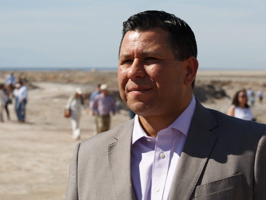 Assemblymember Eduardo Garcia speaks with reporters at the Salton Sea on March 16, 2017.