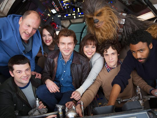 Alden Ehrenreich (center) and the cast — plus two former