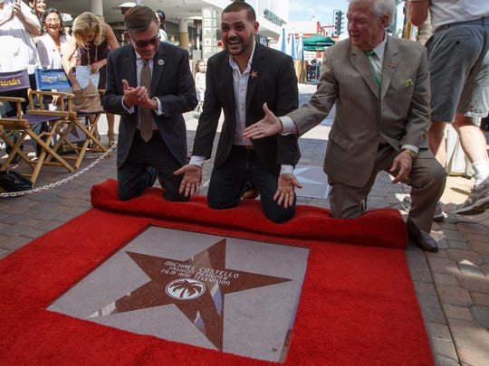 Designer Michael Costello unveils his Palm Springs Walk of Star with Mayor Robert Moon and Robert Alexander at his side, Monday, March 20, 2017.