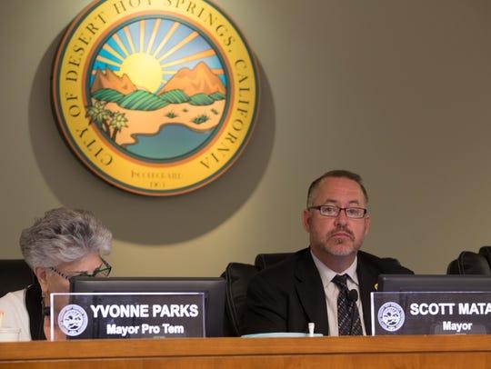Desert Hot Springs Mayor Scott Matas at a previous City Council meeting.