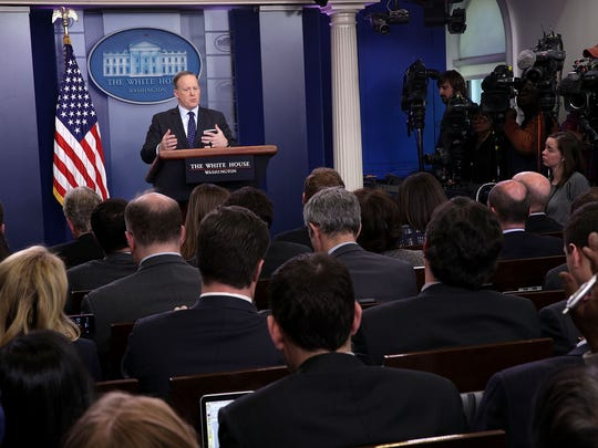 White House press secretary Sean Spicer conducts his daily briefing on March 23, 2017.