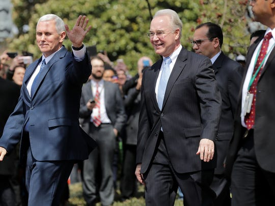 Vice President Mike Pence and Health and Human Services Secretary Tom Price leave the Capitol Hill Club on Capitol Hill March 24, 2017 in Washington, DC. While Pence visited with lawmakers Speaker of the House Paul Ryan (R-WI) traveled to the White House to meet with President Donald Trump to discuss the fate of the American Health Care Act.