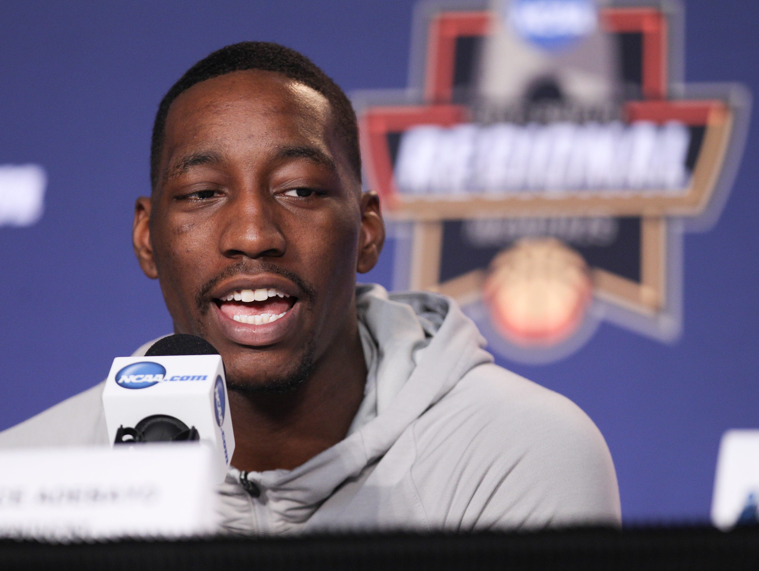 Bam Adebayo answers a question on the dais during off-day press conferences Saturday in Memphis. The Cats will take on North Carolina Sunday afternoon in Memphis to advance to the Final Four. March 25, 2017
