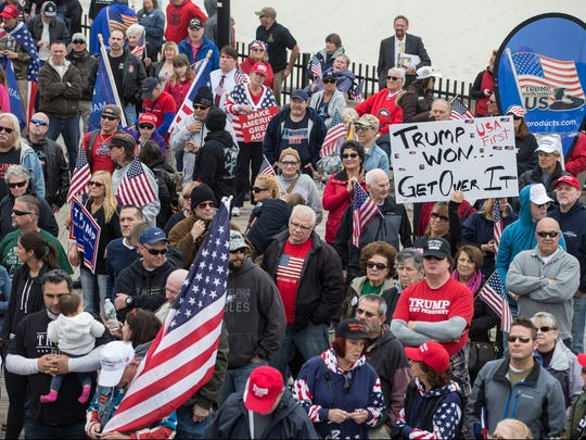 A rally in support of President Donald Trump takes place on the south end of the Seaside Heights boardwalk. Hundreds of people voiced their support during the Make America Great Again march.   Seaside Heights, NJSaturday, March 24, 2017@dhoodhood