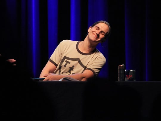 "Actor Jason Mewes performs during a live recording of the ""Jay and Silent Bob Get Old"" podcast during the Freep Film Festival pre-party at the Fillmore Detroit Wednesday, March 29, 2017."