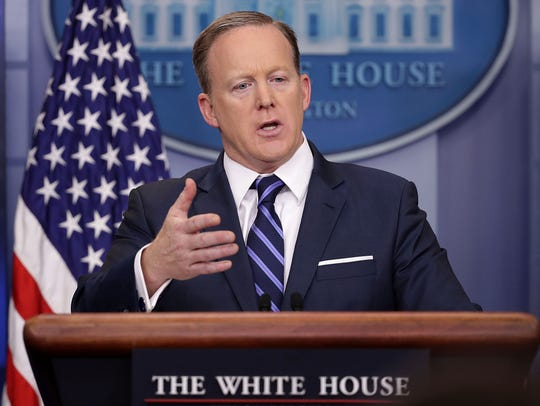 Sean Spicer conducts the daily press briefing at the