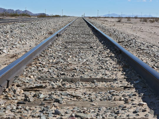 Railroad tracks run near Cadiz Inc. The company proposes to build a water pipeline alongside the railroad.