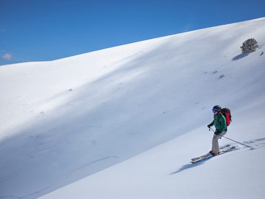 Outdoors writer Benjamin Spillman skiing the Toiyabe