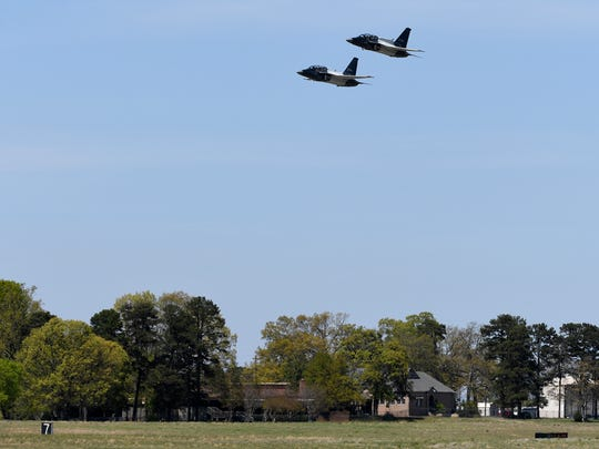 Two Lockheed Martin T-50A aircraft fly over the Lockheed Martin Greenville Operations 244 Terminal on Monday, April 10, 2017.