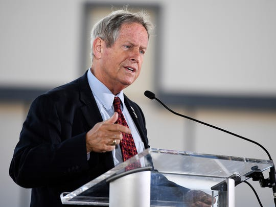 U.S. Rep. Joe Wilson gives a speech during an event to showcase the Lockheed Martin T-50A on Monday, April 10, 2017.