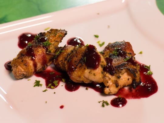 Bacon Wrapped Texas Quail with Blackberry Compote
