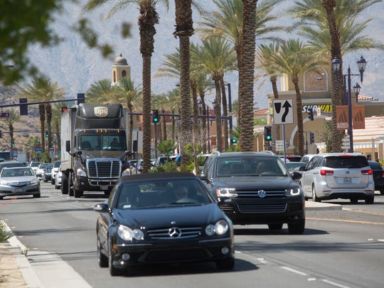 Heavy traffic flows east on Highway 111 in front of an area where a possible casino could be built by the Cahuilla Indians in Cathedral City.