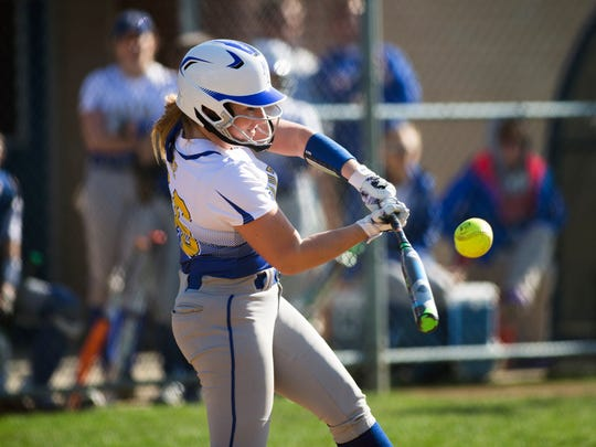Maine-Endwell pitcher Emily Hess swings at a pitch