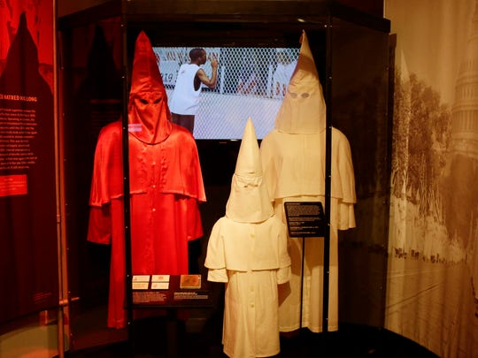 "The Ku Klux Klan display is seen at the ""Spies, Traitors and Saboteurs: Fear and Freedom in America"" exhibition at the Chicago History Museum on Monday, April 10, 2016 in Chicago."