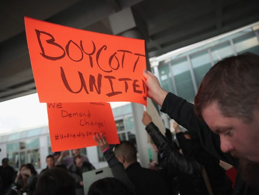 Protest At O'Hare Airport's United Terminal Over Company's Forceful Removal Of Passenger