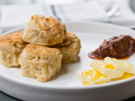 Baby Biscuits with rhubarb jam from CWC, the restaurant in Wyoming.