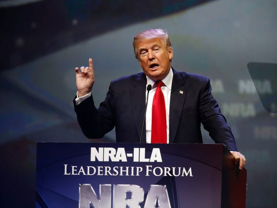 Donald Trump speaks at last year's NRA convention in