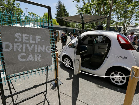 A Google self-driving car is seen on display in May