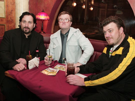 "ctors John Paul Tremblay (L) , Mike Smith and actor/writer Robb Wells pose at the afterparty for the premiere of Screen Media Film's ""Trailer Park Boys: The Movie"""