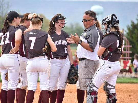 Shippensburg coach Mike Peters talks to his team during the Big Spring Tournament on Saturday. Shippensburg coach Mike Peters talks to his team during a Big Spring Softball tournament game on Saturday, April 29, 2017 in Newville.