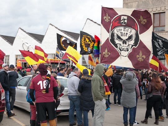 The fans of Detroit City FC gathered at the Fowling Warehouse before they marched to Keyworth Stadium to celebrate the first home game of the team's second season on Saturday, May 6, 2017.