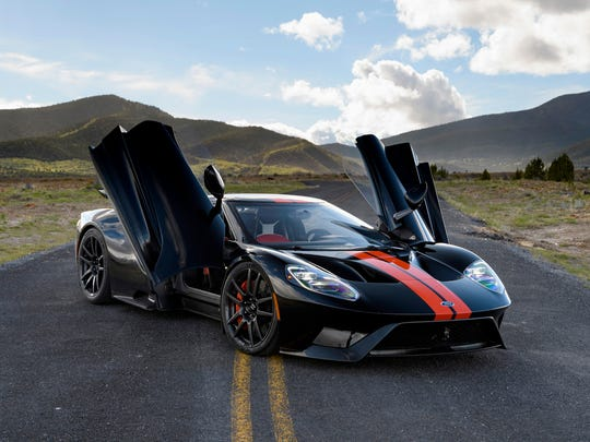 The 2017 Ford GT on a road near the Utah Motorsports Campus.